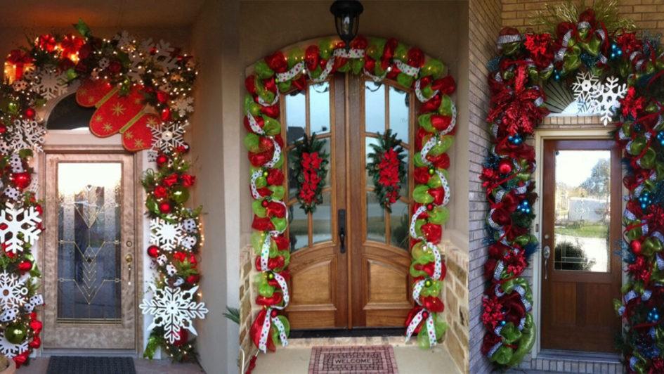 cómo decorar una puerta para navidad